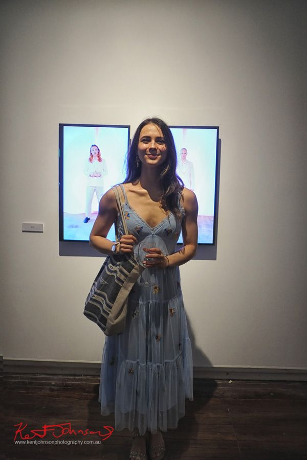Blue Dress - Arbiters at KUDOS Gallery photographed by Kent Johnson for Street Fashion Sydney.