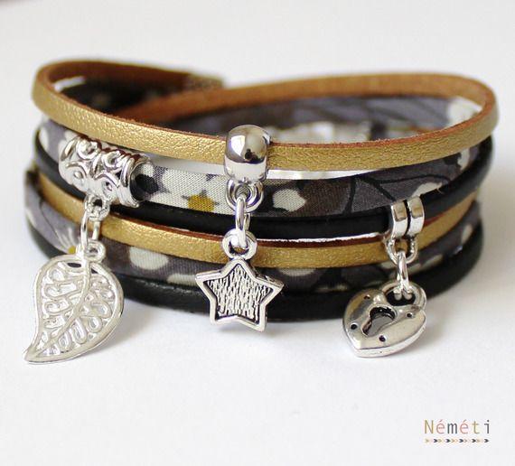 Bracelet liberty tissu mitsi gris, suédine doré et noir aspect cuir, breloques métal argenté