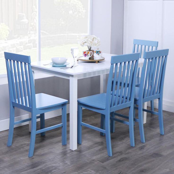 Greyson 5-Piece Dining Set in White/Powder Blue