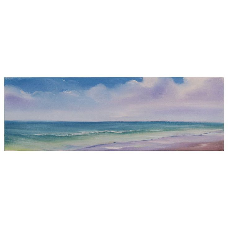 """Buy Peaceful Shores X 4x12"""" small panoramic seascape oil painting on canvas, Oil painting by Eva Volf on Artfinder. Discover thousands of other original paintings, prints, sculptures and photography from independent artists."""