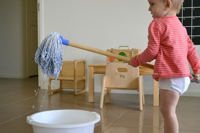 Mops and Brooms - How We Montessori - Toddler mop (just a small mop w/cut down handle - why didn't I think of that???)