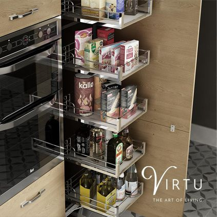 Larder Storage Unit. Large soft closing pull-out shelves - available in 500 & 600mm #TheArtofLiving