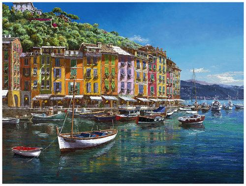 "Sam Park ""View of Portofino"". Limited Edition Giclee on canvas. For more info contact Sienna Fine Art. www.siennafineart.com"