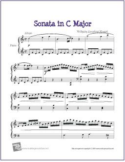 Sonata in C Major (Mozart) | Free Sheet Music for Piano - http://makingmusicfun.net/htm/f_printit_free_printable_sheet_music/sonata-in-c-major-piano.htm