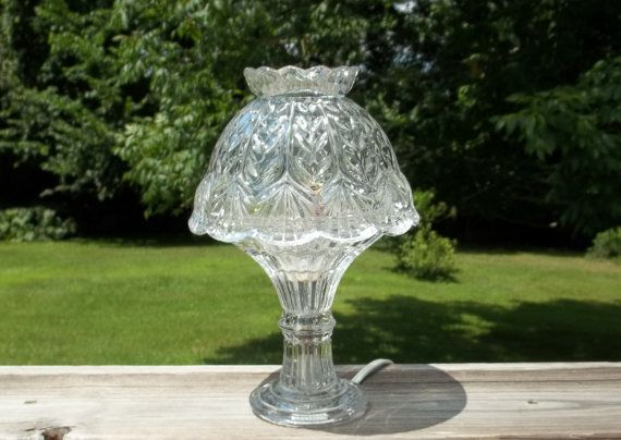 Vintage Crystal Lamp Pressed Glass Table Lamp Cut Glass