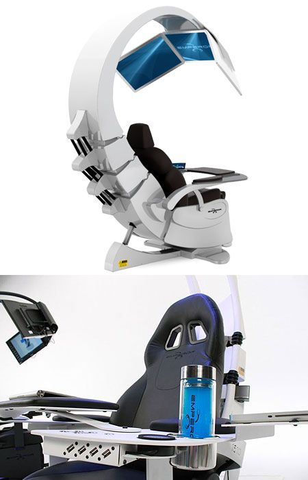 """At $49,150, the futuristic-looking Emperor 200 computer workstation just might be the craziest ever. Each hand-built workstation features """"touch screen control center, air filtering system, light therapy, electric powered leather seat, up to 3 x 27"""" LED screens and breathtaking so"""