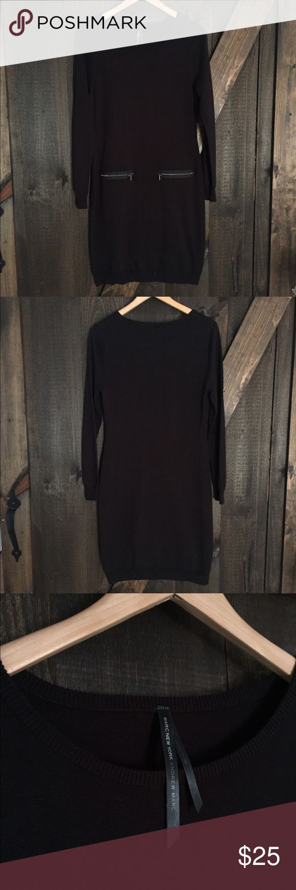 """Marc New York long sleeve sweater dress Marc New York long sleeve sweater dress in black. Exposed zip pockets at hip.  Crew neck. Ribbed trim. Pullover style. Approx 38.5"""" length. Size Large. Worn literally once to an event. Perfect condition. Andrew Marc Dresses Long Sleeve"""