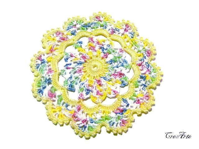Yellow and Pastel Colors crochet coaster