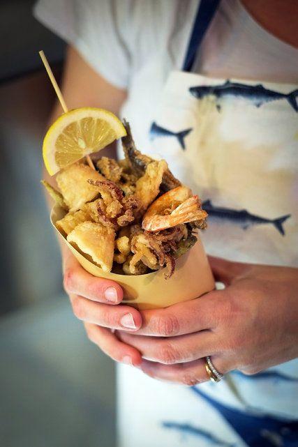 The Cinque Terre: A cone of fried seafood at Il Pescato Cucinato in Riomaggiore.