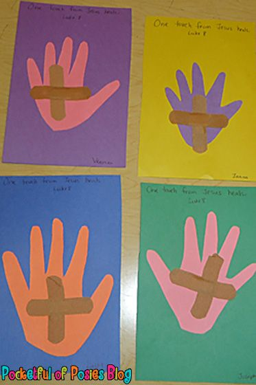 "Day 3 - preprint key verse or just ""Jesus Heals"" on paper - trace hands, have them add bandages and decorate"
