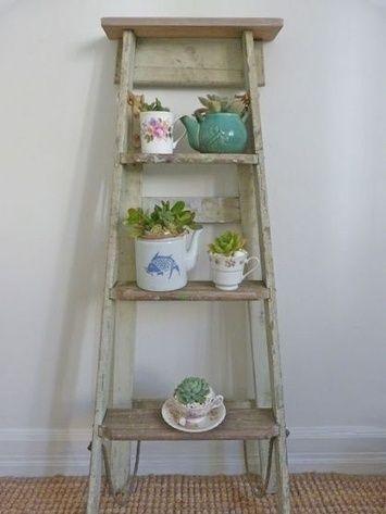 Oude ladder, verven, decoreren = tuindecoratie