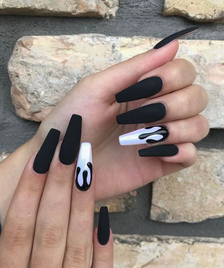 21 Coffin Matte Black Nails in 2020 | Black nail designs ...