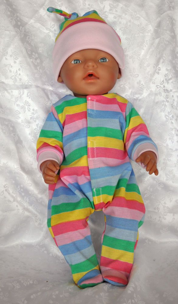"Doll Clothes for 17"" Baby Born Doll ~ Onsies Bodysuit with matching hat"