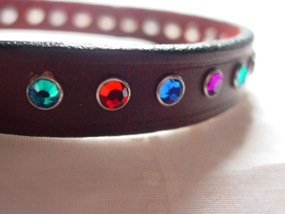 Hand Decorated Leather Dog Collar with Teal, Purple, Red, Blue Crystals by frisado. Explore more products on http://frisado.etsy.com