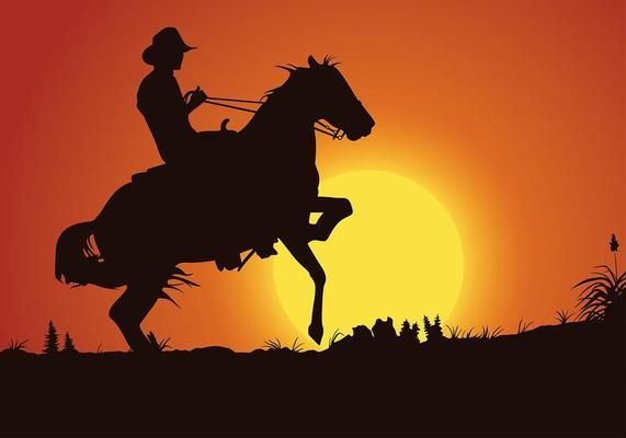 Free Silhouette Bull Rider Vector - Download Free Vector ...