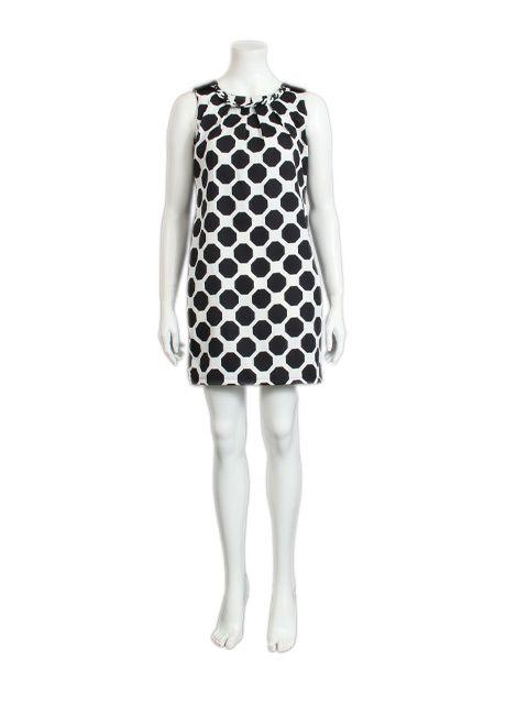 Jurk wit met zwarte bollen - Halflange jurken - BoBo Tremelo