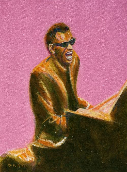 "Ray Charles – The Genius 1963. Chris Dahl 2014. 12x16"" oil on canvas. $900 (unframed). http://chrisdahlcreative.com/paintings_page2010portraits.html"
