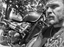 """ L plates are gone""  ""Triumph fkn Rock #Venom2017 ""  Tom Hardy Triumph Motorcycles UK #nomoreLplates Venom #2017 #Happy4thofJuly"
