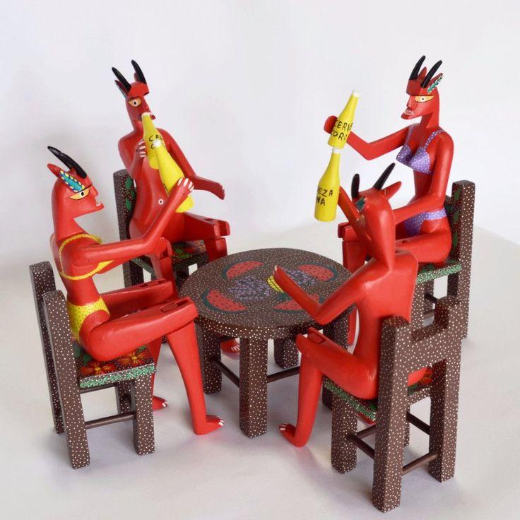 Adrian Xuana - Oaxacan Wood Carving Drinking Devils