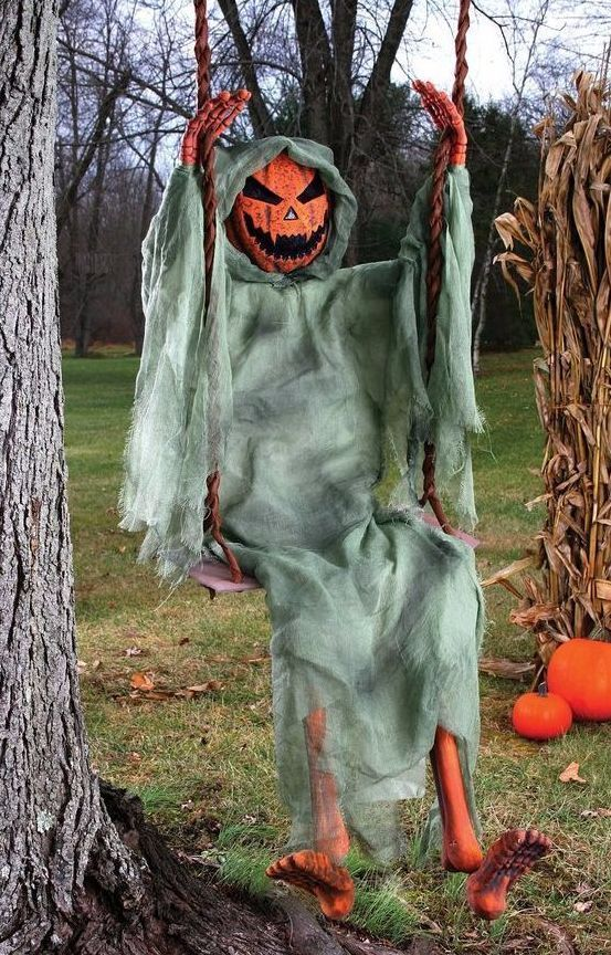 60 swinging halloween pumpkin skeleton zombie yard prop haunted jack o lantern - Halloween Stuff