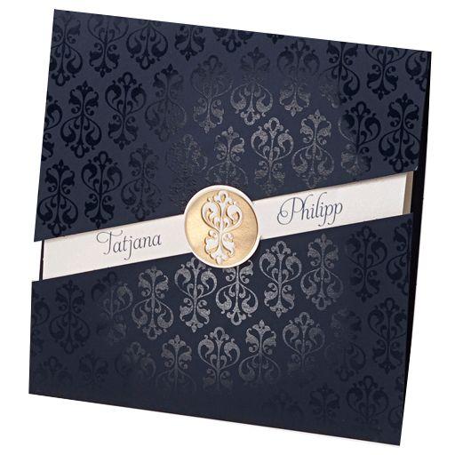 Diese edlen Hochzeitseinladungen bestechen durch eine harmonische Gestaltung in Royal-Blau und Gold. Edel & festlich. Online bestellen - nur bei uns! top-kartenlieferant