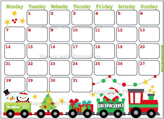 Printable Christmas December 2015 Calendar PdfChristmasPrintable