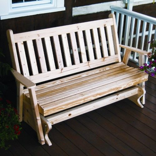 A & L Furniture Yellow Pine Traditional English Outdoor Bench Glider, Redwood Stain