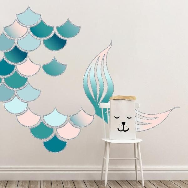 Mermaid Scales And Tail Reusable Wall Decals Turquoise And Blush Mermaid Wall Art Nursery Art Decals Wallpaper