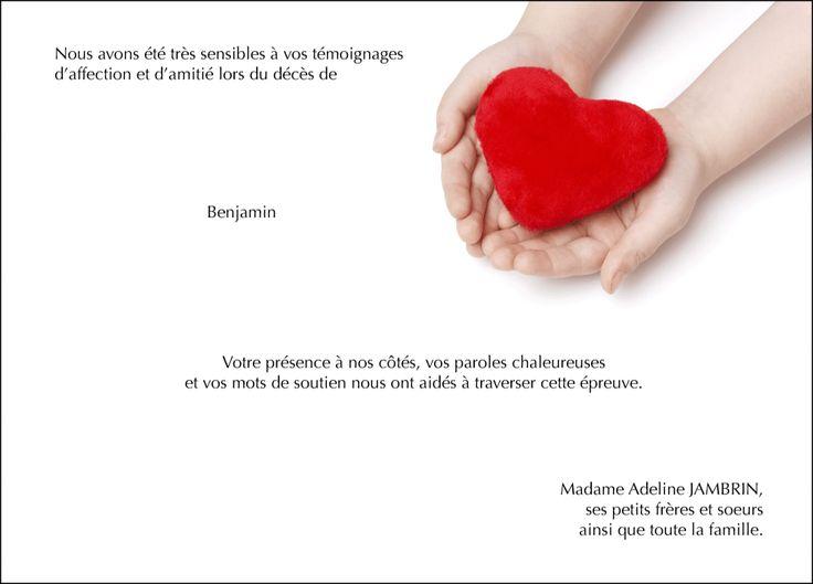 Carte de remerciements deuil - thème enfants - Mon p'tit cœur