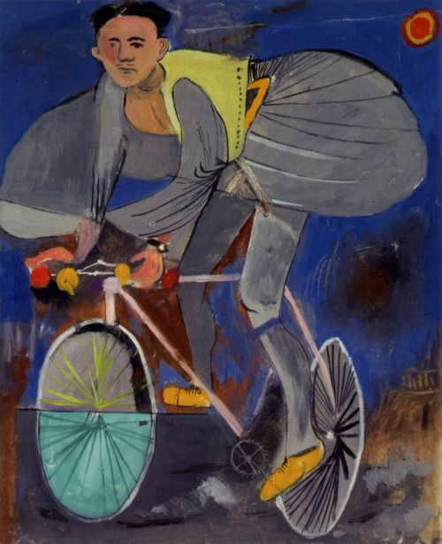 Yiannis Tsarouchis - Cyclist dressed up (with traditional Greek costume) and a temple on the right corner 1936