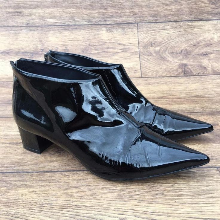 UK 6 TOPSHOP CARA DELEVINGNE 'ASHLEY' BLACK PATENT LEATHER POINTED ANKLE BOOTS