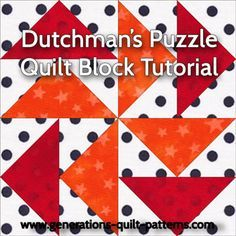 Paper pieced Dutchman's Puzzle quilt block in 3 sizes. Includes free download for the paper piecing patterns.