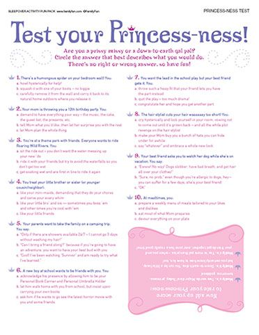 test your princess ness printable princess test as a party activity - Disney Princess Games And Activities