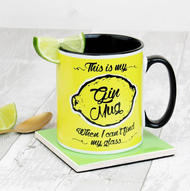 A stunning Gin themed mug with screen printed design on front and back and a painted black handle and black inner.When life hands you lemons reach for the Gin........... Use this gorgeous printed mug just made for the job! Ok its for your tea or coffee really but if the occaision calls for it? It makes a perfect gift for that gin loving friend or family member, they will love the fine quality and humourous print, why not add a branded gift box to your basket so it arrives in style? You can…