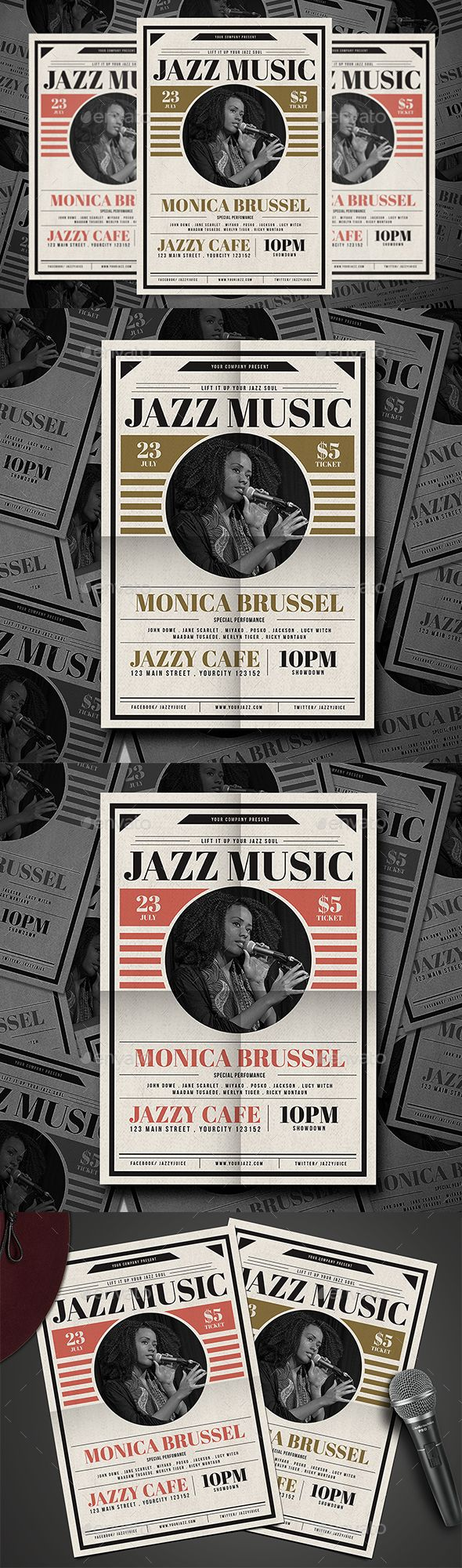 Classic Jazz Flyer Template PSD, AI Illustrator