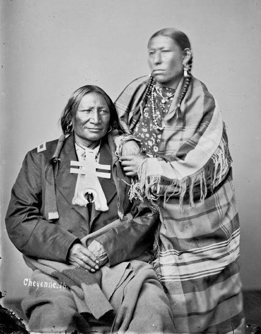 Stone Calf and wife - Cheyenne.  c. 1871
