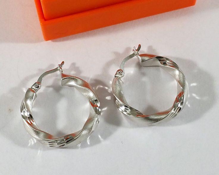 Vintage Ohrhänger - Ohrringe Creolen Silber 925 diamantiert edel SO276 - ein Designerstück von Atelier-Regina bei DaWanda