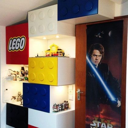 Lego®-themed Shelves With Display Areas - very creative. Excellent step by step guide