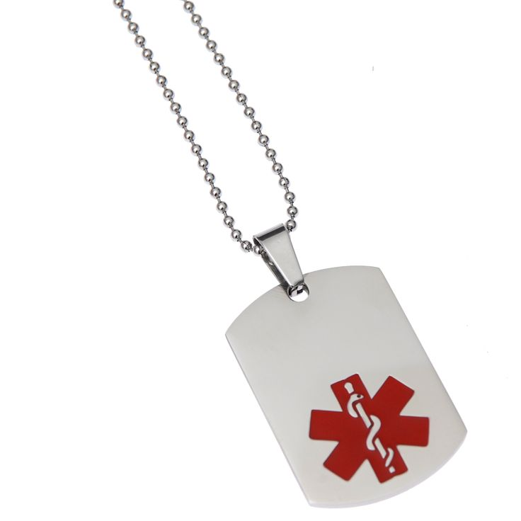 Medical ID Alert Dog Tag Necklaces Save Lives! Protect yourself or a loved one by wearing custom medical ID by Mediband.  Enjoy life more knowing that you - or your loved one - can get immediate and appropriate treatment should something happen. Mediband is an emergency medical information service providing ready-to-wear and custom engraved identification alert bracelets and 24hr-accessible web-based medical information to medical personnel and first responders in emergencies. Mediband…