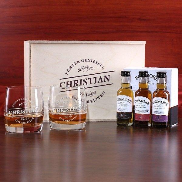 Whisky Geschenkset für Geniesser mit 3 Bowmore Whiskyflaschen und 2 Gläser in Geschenkbox
