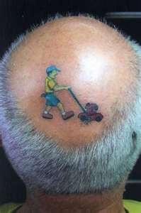 hahahahaha: Bald Head, Laughing, Giggles, Body Art, Funny Tattoo, Funny Stuff, Humor, Smile, Hair