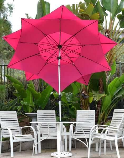 The Patio Umbrella   Pink Flower Petal Design Is Both Beautiful And  Functional. Hand Crank And Tilt Are Easy To Use.