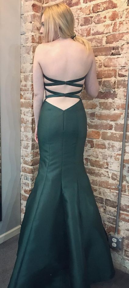 Mermaid Prom Gowns,Sweetheart Cross Back Dark Green Satin Gowns,Mermaid Evening Gowns,Prom Dresses