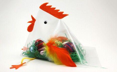 Basteln zu Ostern: Huhn aus Zeigetasche