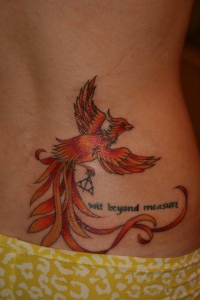 THIS! PLACEMENT AND SIZE ON MY RIGHT SIDE/LOVEHANDLE! still want my designy phoenix though, but THIS POSE of the phoenix w/ the deathly hallows symbol - diff quote though