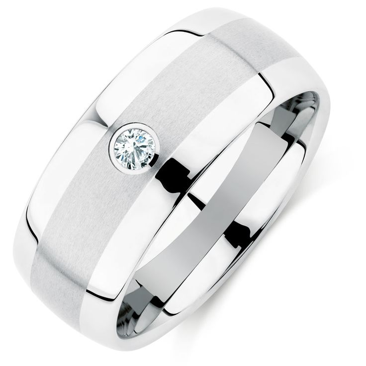 Show him what love is with this stunning white tungsten ring, simply set with a single diamond. Showcasing a matt finish, stylishly offset with polished edging, this is the ideal ring for any occasion.