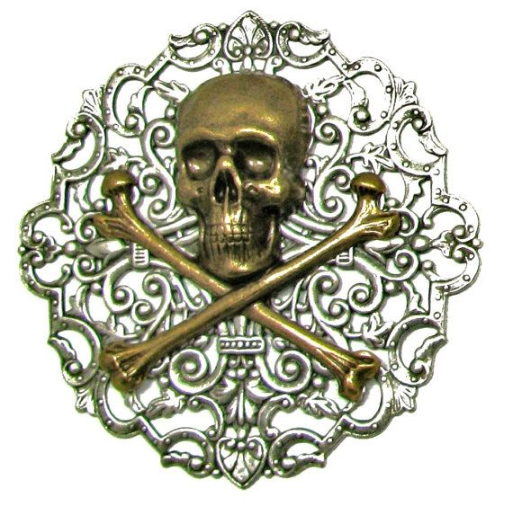 PIRATE PIN Brooch Skull & Crossbones Jolly by UniqueCreations1111