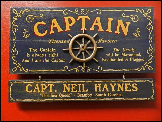 Captain Vintage Plank Nameplate Sign Personalized by KandKSales