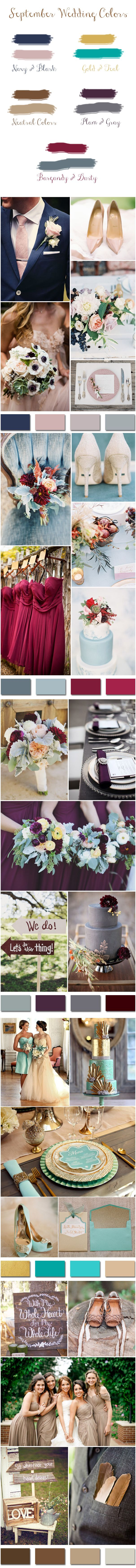 Top 5 Fall Wedding Colors for September Brides So maybe it doesn't have to be prison orange? lol