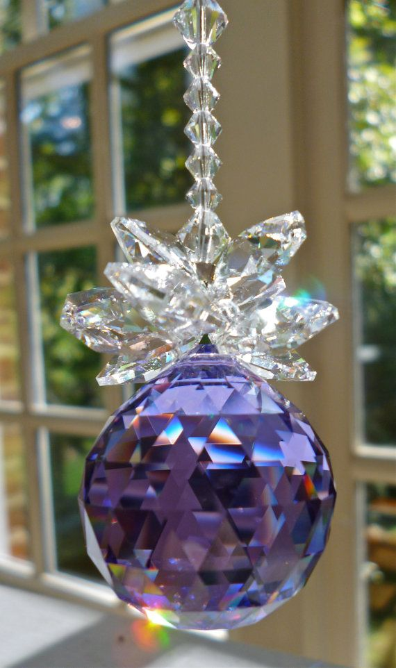 "Purple Swarovski Crystal Ball, Cluster of Clear Swarovski Octagons, ""JULIET"" Rainbow Maker, Crystal Hanger, for your window."